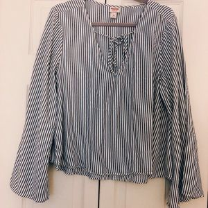 Missimo blue and white striped bell sleeve top